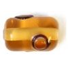 Glass Lamp Bead 13x9mm Roller Smoke Topaz
